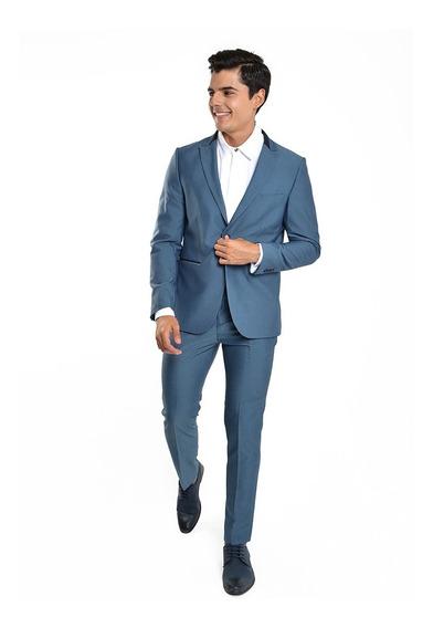 Pantalón De Traje Hombre Skinny Fit Color Azul Lob