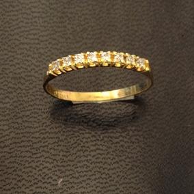 Aparador Meia Aliança Noivado Ouro 18 K Zirconia 03-123