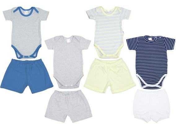 Kit 4 Bodies E Shorts Para Bebê Menino De 0 A 12 Meses