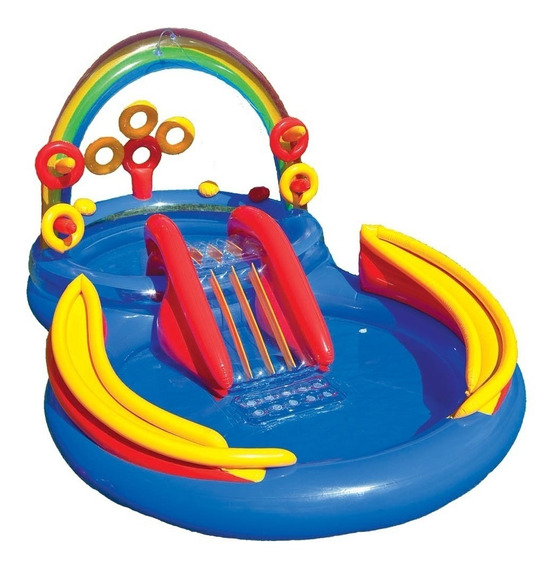 Play Center Pileta Niños Inflable Intex Rainbow 297x193x135