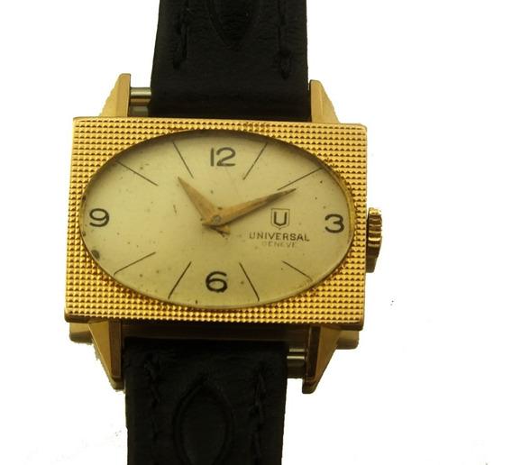 Relógio De Pulso Feminino Universal Geneve Retangular Em Ouro Rose 18k A Corda 20 Gramas Frete Grátis J20005