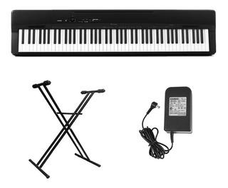 Combo Piano Casio Privia Px 160 Negro Soporte+fuente