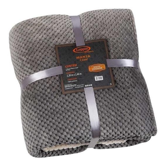 Manta Fleece Casal Degradê Mélodie Lepper Premium Cinza