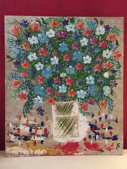 Cuadro Floral, Pintado A Mano. Acrílico. 50*60