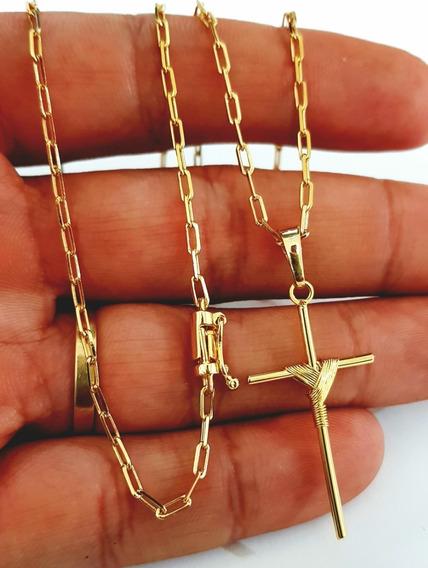 Corrente Cordão 70cm 2mm Folheado A Ouro 18k Pingente Cruz