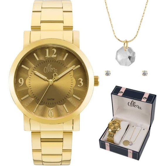 Relógio Allora Feminino Dourado Kit Semijóia Al2035fna/k4d