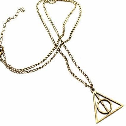 Colar Pingente Harry Potter Relíquias Da Morte Bronze