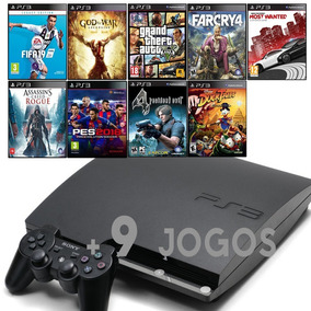 Ps3 Slim + Gta5 + Fifa 19 + Far Cry 4 + God Of War Ascension