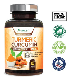 Curcuma 1950mg 120 Capsulas Bioperine 95% Curcuminoides