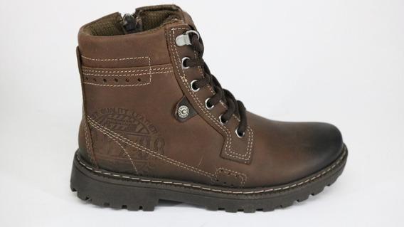 Bota Pegada Trekking Boots Pull Up Couro Zíper Brown - 31 -
