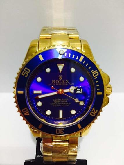 Relógio Submariner Gold Azul Caixa Grande 45mm