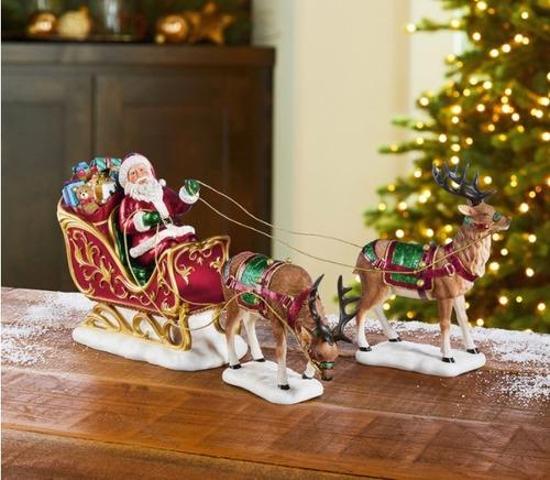 Precioso Santa Claus Con Renos Y Trineo Adorno Fino Navidad