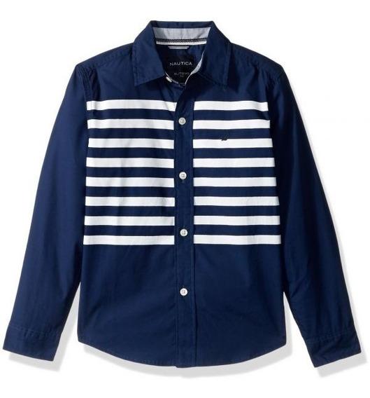 Camisa Nautica 439 Retro Blue Long Sleeve Button Shirt Algod