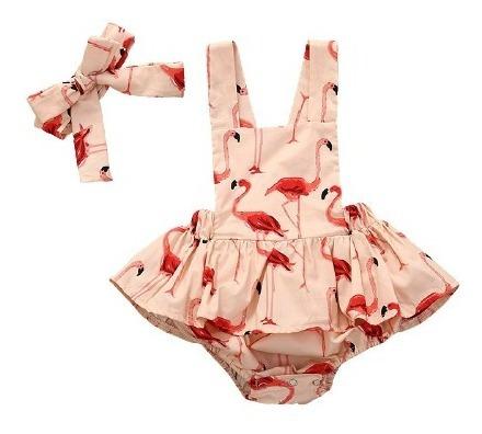 Set Conjunto Niña Vestido Con Moño Flamingos
