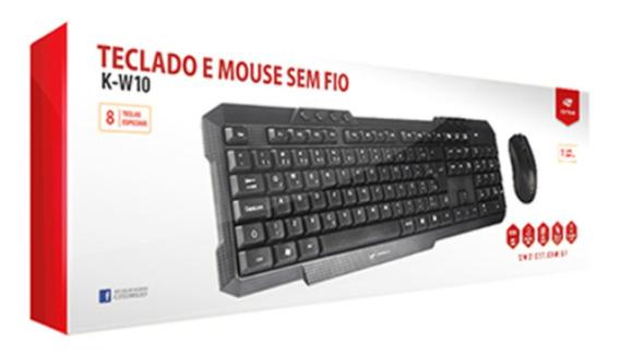 Kit Teclado + Mouse Sem Fio C3tech K-w10bk 1000dpi Preto -k