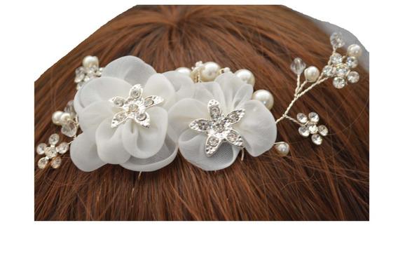 Tocado Novia Blanco Flores Tela Cristales Perlas M