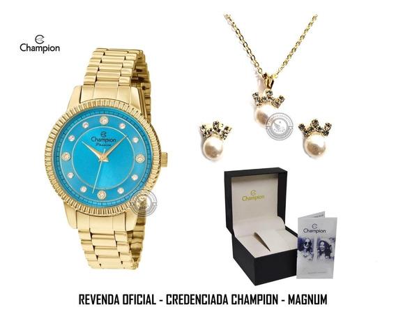 Relógio Champion Passion Blue Cristais Colar Brinco Original