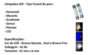 10 Lâmpadas Led Fusível 8v Branca Quente\ Azul\ Branca Fria