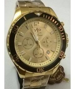 Relógio Vip 6882 Multifunção Dourado - Original Na Caixa