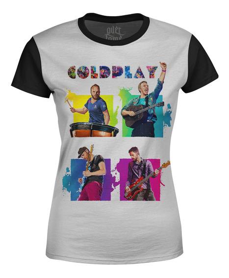 Camiseta Baby Look Feminina Coldplay Estampa Digital Md02