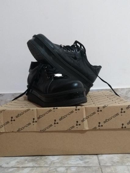 Zapatillas Negras, Mujer, Cuero Ecológico, Plataforma T.39