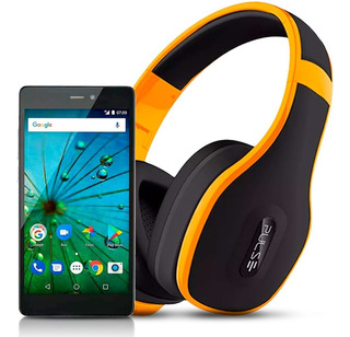 Kit Smartphone Dual Chip Ms60f 16gb + Fone Bluetooth Amarelo