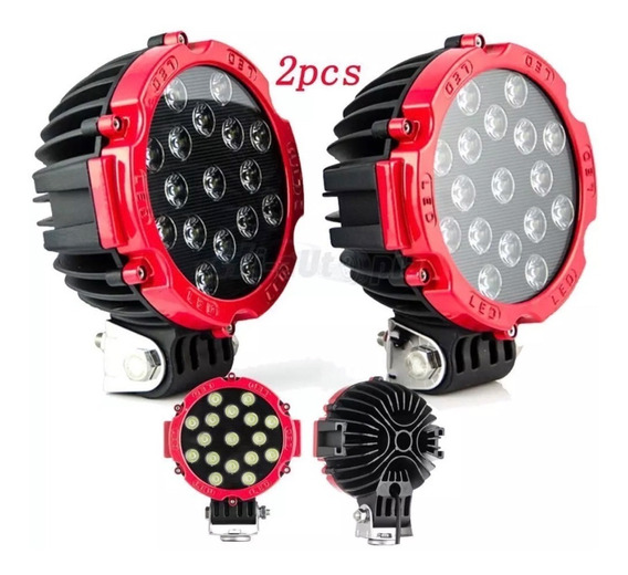 Juego Faro Proyector Redondo 51w 3700lm 17led 4x4 Off Road