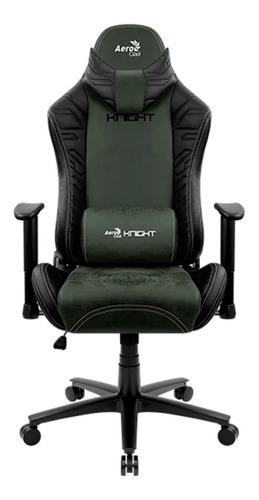 Imagen 1 de 3 de Silla de escritorio AeroCool Knight gamer ergonómica  hunter green con tapizado de cuero sintético y gamuza