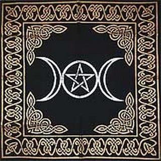 Manta De Tarot Para Altar Diosa Triple Con Pentagrama24 X