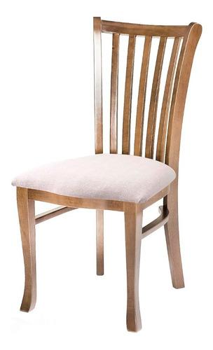 Imagem 1 de 1 de Cadeira De Jantar Grécia Assento Estofado E Madeira Maciça