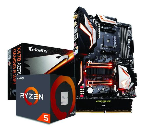 Kit Ryzen 5 2600x X470 Aorus Gaming 5 Wi-fi 8gb Vengeace Lpx