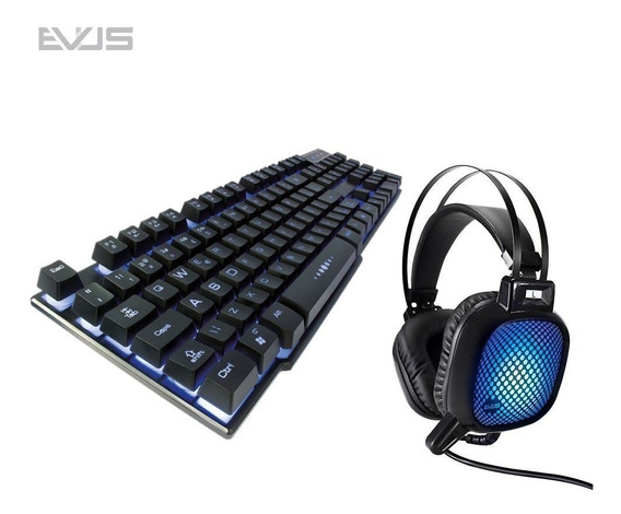 Kit Gamer Evus Teclado Iluminado + Headset Vibration F-04