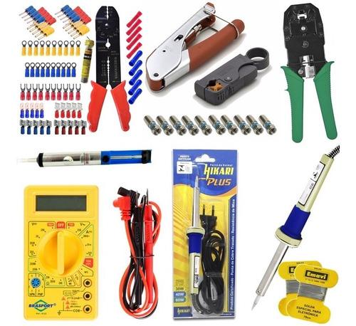 Imagem 1 de 8 de Kit Eletricista Tecnico Rede Cftv Antenas Ferramentas Brinde