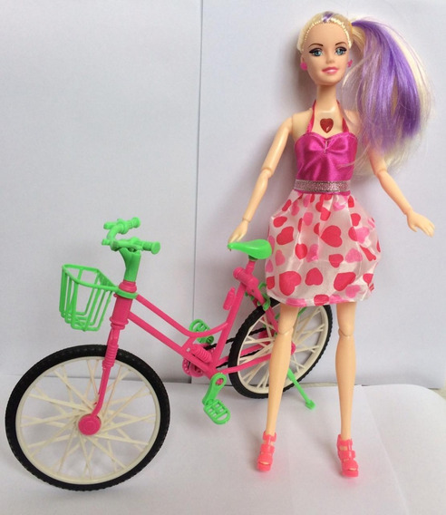 Boneca Ciclista Articulada C/ Patins E Vestido Natal Brincar