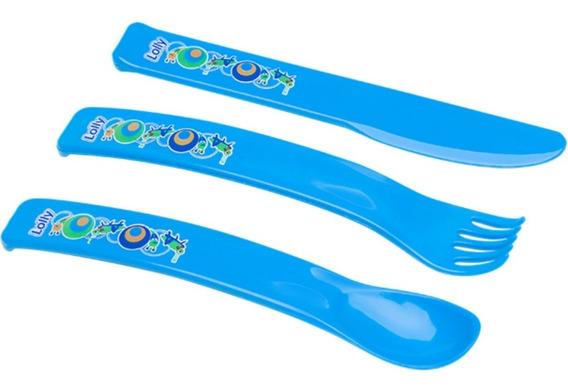 Kit Talheres Infantil Bebê Lolly 1 Garfo 1colher Menino Azul
