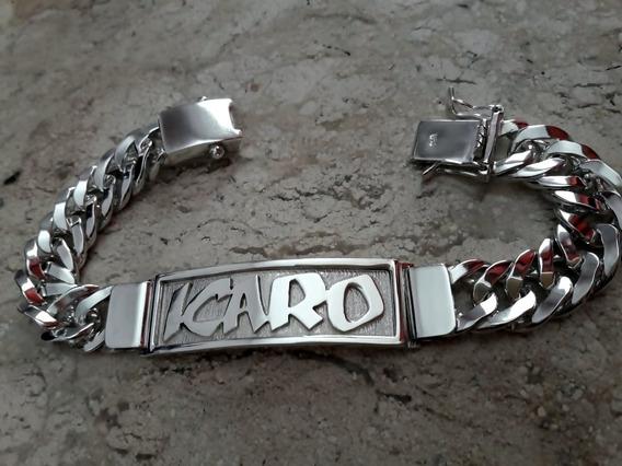 Pulseira De Placa Com Nome. Prata Maciça 950. Original