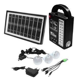 Led Recarregável Luminária Painel Solar Bateria Portátil Kit