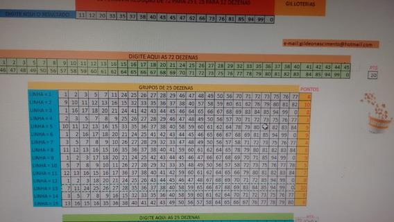 Planilha Lotomania Redução De 72 Para 25 E 25 Para 12 Dezena
