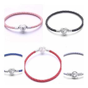 Bracelete Couro Varias Cores Prata 925 Est Pandora Vivara