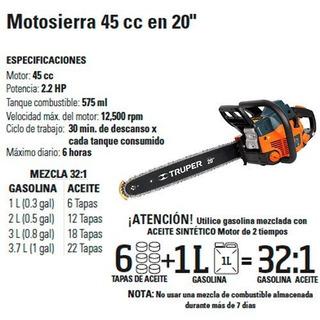 Motosierra Truper 2.2hp 20 46cc A Tratar