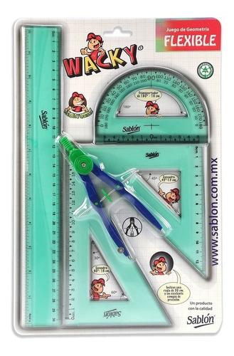 2 Pack Juego De Geometría Wacky Plástico Flexible Con Compás