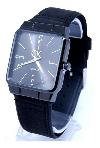 Relógio Masculino Quadrado Analógico Couro Preto Original T3