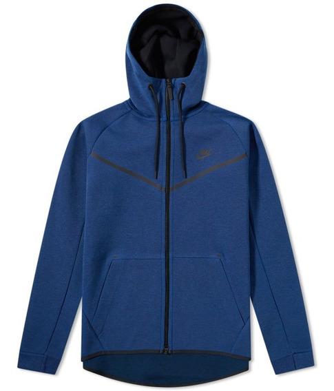 Jaqueta Moletom Blusa Capuz Nike Tech Fleece Azul M