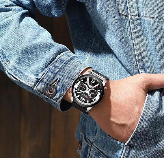 Relógio Masculino Curren 8329 Luxo Couro. Preto/prata