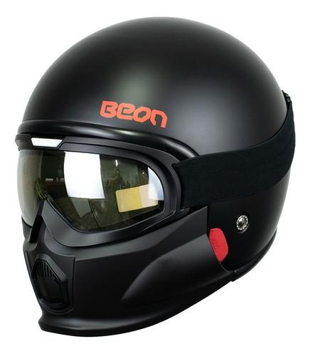 Casco Jet Para Moto Beon B-703 Solid Negro Mate Con Goggles