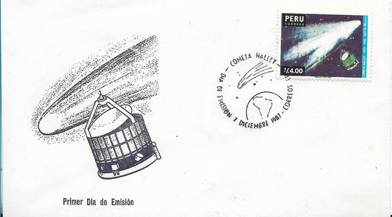 Peru Sobre Primer Dia Del Año 1987 Cometa Halley Filatelia