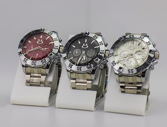 Kit 3 Relógios Masculino Original Aço Dourado Prata