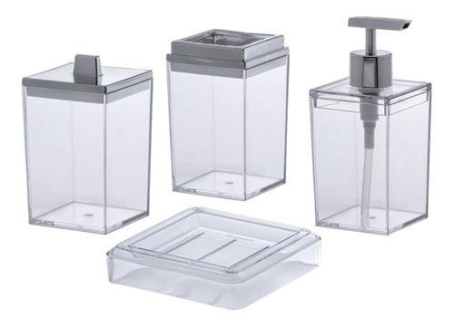 Jogo Banheiro Acrílico 4 Peças Lavabo Transparente Paramount