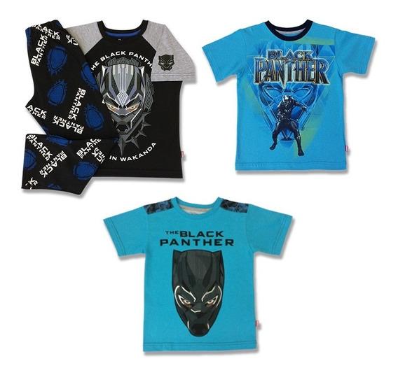 Pack Pijamas Y Playeras Black Panther Avengers Marvel Niños