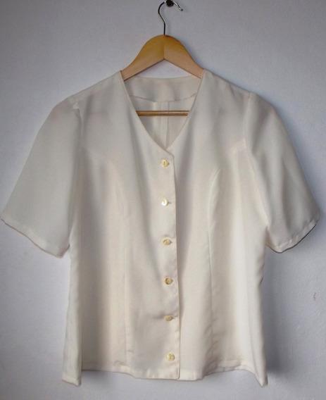 Elegante Camisa Manga Corta Entallada Talle M Impecable